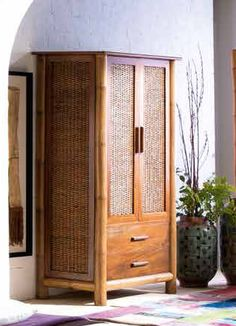 Armoire en bambou et rotin : Collection TROPICANA II
