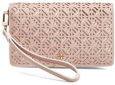 Ultra feminine wristlet perfect for a night out. Tory Burch 'Fret-T' Leather iPhone 6 & 6s Wristlet