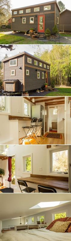 "The Hikari Box by Shelter Wise is a 24′ tiny house with a 184-square-foot main floor, 79-square-foot queen bedroom loft, and a 23-square-foot loft that can be used for storage or a twin bed. Hikari, Japanese for ""light-filled,"" gets its name from the fourteen windows and two skylights."