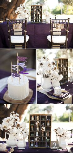 Perfectly Purple :) And some original ideas: the chairs, and using cotton as a flower centrepiece!