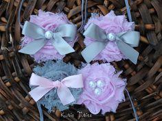 Pink and Gray Headband newborn baby infant girl by KutieTuties Baby Girl 1st Birthday