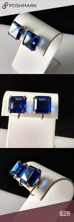 """Vtg. Beautiful Sapphire Rhinestone Earrings Vtg. Beautiful Sapphire Rhinestone Earrings. Screw-back earrings with gorgeous sapphire square cut stones. There a couple of very small chips in the stunning deep blue stones approx. .5"""" Vintage Jewelry Earrings"""