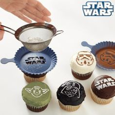 Star Wars fan? (rebpin NOW if so!) Like cupcakes?   This is the coolest geek accessory that shouldn't miss from your kitchen. The Star Wars stencil for cupcakes! Put it on and get crazy with it!