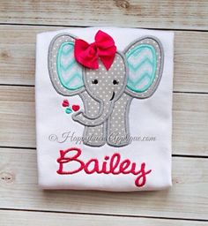Valentines Day Elephant Applique Shirt by DesignsbyApril1234, $20.00