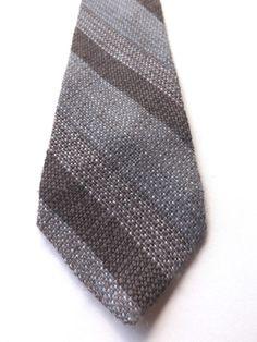 VINTAGE 100% WOOL SKINNY NECK TIE by Paul John Brown Beige Striped FREE P&P