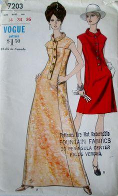 Vogue 7203 Women's 70s One Piece A Line Dress Sewing Pattern Bust 34