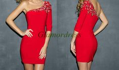 Red satin homecoming dress with rhinestoneshort by Glamordress, $128.00