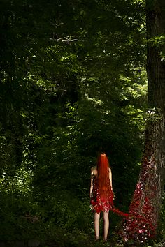 "Photograph from my photo-set ""MULTiVERSE"".  © Alice Gimmelli Photography 2014 Model is Lavinia Borgonuovo. www.facebook.com/alicegimmelliphotography #surreal #photography #red #redhead #girl #hair #long #ginger #leaves #tree #nature #back #growth #continuity #fineart #art #green #forest"