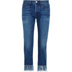 3x1 WM3 Crop Fringe mid-rise straight-leg jeans found on Polyvore featuring jeans, mid denim, straight leg jeans, 3x1 jeans, mid rise jeans, blue jeans and medium rise jeans