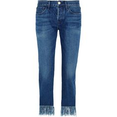 3x1 WM3 Crop Fringe mid-rise straight-leg jeans ($300) ❤ liked on Polyvore featuring jeans, mid denim, straight leg jeans, blue jeans, 3x1 jeans, medium rise jeans and cropped jeans