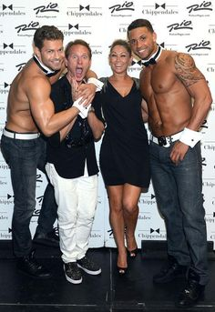 Jaymes Vaughan, Carson Kressley, Kym Johnson and Matt take a selfie backstage at Chippendales at Rio All Suite Hotel and Casino on August 17, 2014 in Las Vegas (Photo credit: Denise Truscello / WireImage / www.DeniseTruscello.net).