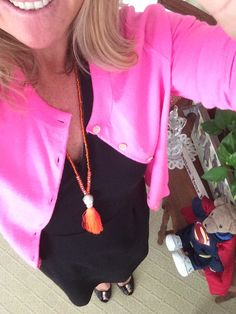 I have been eyeing this orange tassel necklace for months, and on Saturday I finally bought it. Sometimes you need a little pick me up! This necklace was $25 and I found it at my hair salon, Parks ...