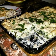 Lasagna with mushroom and spinach