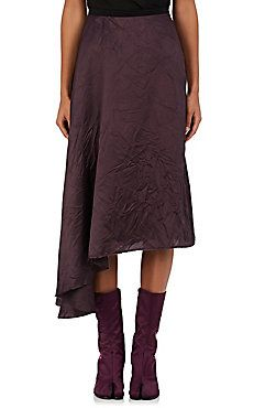 Crinkled Twill A-Line Skirt