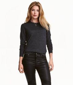 Merino Wool Sweater | Dark gray melange | Ladies | H&M US
