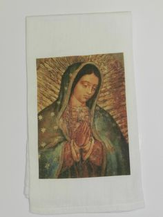 Tea Towel Christian Lady Guadalupe Vintage by DesignsofFaithandJoy