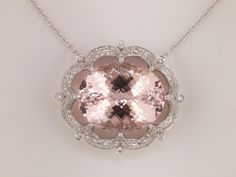 Morganite Necklace ~ I think I've met my match. Ear Jewelry, I Love Jewelry, Crystal Jewelry, Jewlery, Jewelry Box, Fine Jewelry, Unique Jewelry, Morganite Necklace, Morganite Jewelry
