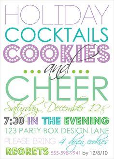 holiday party, holiday party invites, holiday cocktail party, cookie party invites, christmas invites