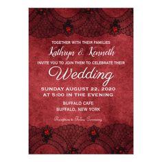 Red Black Lace Formal Wedding Invitation - invitations custom unique diy personalize occasions