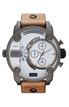 For Scott: DIESEL® 'Little Daddy' Chronograph Leather Strap Watch, 51mm | Nordstrom