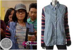 Shop Your Tv: Awkward: Season 3 Episode 10 Ming Printed Sleeve Denim Shirt