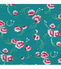 Coton Petite Pivoine turquoise - Petit Pan - vivre en multicolore