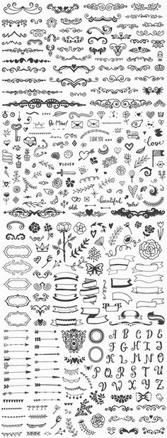 With 310 elements, here's a gigantic vector set you'll never outgrow! Diy Tattoo, Handlettering, Sheet Music, Mandala, Tattoos, Ideas, Art, Letters, Typography