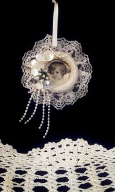 Hey, I found this really awesome Etsy listing at https://www.etsy.com/listing/210229530/shabby-chic-angel-ornament-lace-buttons