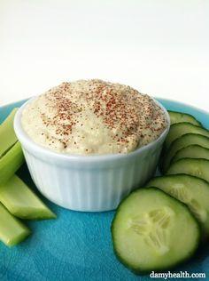 No-bean hummus—this recipe is gluten-free, vegan, raw, all-natural, dairy-free, full of fiber and has hidden green veggies.