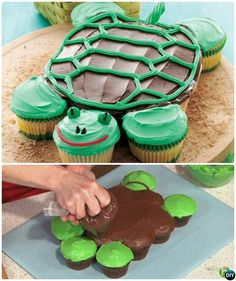 DIY Turtle Pull Apart Cupcake Gorgeous Pull Apart Cupcake Cake Designs For Any Party Cupcake Torte, Cupcake Cake Designs, Pull Apart Cupcake Cake, Pull Apart Cake, Turtle Cupcakes, Fish Cupcakes, Party Cupcakes, Wedding Cupcakes, Birthday Desserts