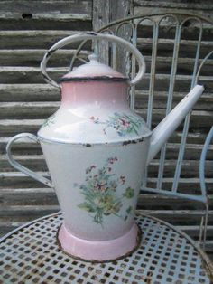 FABULOUS Old FRENCH Floral Enamelware WATERING CAN Violets / Paris Pink Shading