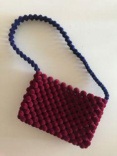 Handmade Maroon and Navy Velvet Beaded Shoulder Handbag - LooMee Beaded Bag Beaded Bags, Beaded Jewelry, Beaded Necklace, Jewellery, Handmade Handbags, Bead Crafts, Shoulder Handbags, Bag Making, Diy Fashion
