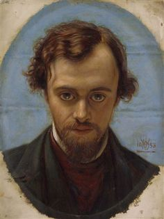 Portrait of D. G. Rossetti by William Holman Hunt, 1882-83. Oil on panel. Painted after Rossetti's death, based on the 1853 drawing. I like the idea that Rossetti was looking up at Hunt from work on his reciprocal portrait drawing as the cause of the angle of the head and the intense stare.