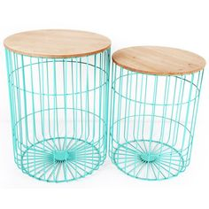 Teal Japanese Table Set - wire side tables - Temerity Jones