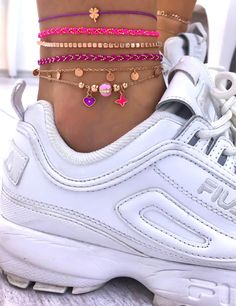 Neon Anklets Colorful 925 Silver Rose Gold Plated | Etsy Chic Office Outfit, Air Max Sneakers, Sneakers Nike, Silver Roses, Anklets, Or Rose, Rose Gold Plates, Handcrafted Jewelry, 925 Silver