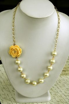 Asymmetrical Buttercup Yellow Flower Necklace by BrittanyChavers, $26.00