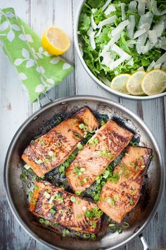 Pan seared marinated salmon fillets. Salmon is a delicious fish cooked almost any way, but this marinade adds such a nice touch to the dish. A little tangy, a little sweet, a little salty... Mmmm good! #salmon #salmonrecipes #easysalmonrecipes #marinatedsalmon #marinatedsalmonrecipe #atlanticsalmon #glazedsalmon #pansearedsalmon #searedsalmon #salmonfillets #foodporn #chefsofinstagram #Foodiechats #thekitchn #huffpostliving #huffposttaste