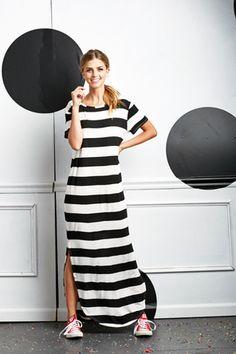 Professor Parker Maxi Dress B&W Stripe