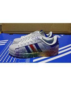 promo code 65b6c 60b24 Adidas Superstar Mens Blue Slip-On Running Shoes T-1037