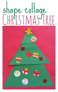 Great easy Christmas tree craft for kids.a GOOD use for scraps of wrapping  or  scrapbooking paper !