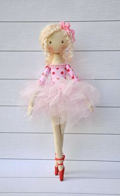 ballerina Doll Textile doll decorative by NilaDolss on Etsy ♡