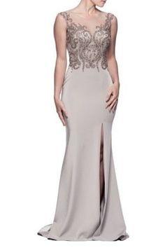 Shimmering Silver Evening Dress.