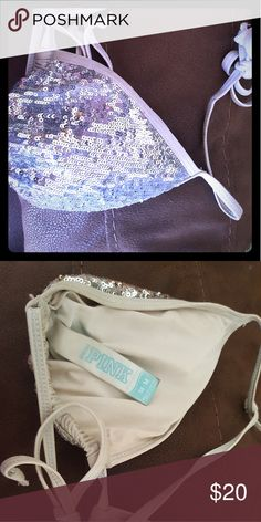 Victoria secret swim top sparkly Very sparkly swim top. Used but in good conditon Victoria's Secret Swim Bikinis