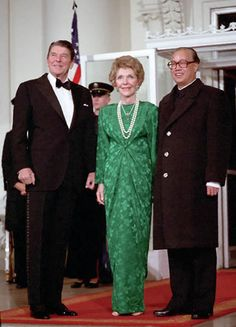 President Reagan and Nancy Reagan with Premier Zhao Ziyang of the Peoples Republic of China before the State Dinner on North Portico, 1984