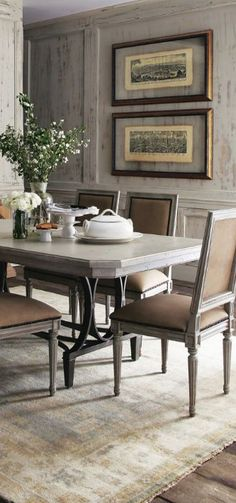 """""""Sofia"""" Dining Furniture - Horchow from Horchow. Saved to Home - french, cottage and shabby: furniture. Traditional Dining Rooms, Dining Room Inspiration, Dining Room Design, My Living Room, Dining Furniture, Sweet Home, Shabby, Room Decor, Interior Design"""