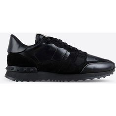 Valentino Garavani Sneaker (4 095 PLN) ❤ liked on Polyvore featuring shoes, sneakers, black, camouflage shoes, black sneakers, rubber sole shoes, black shoes and camo footwear
