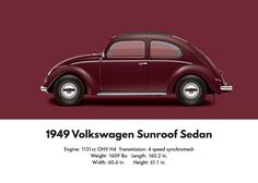 1949 Volkswagen Sedan - Bordeaux Red Digital Art