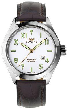 Glycine Watch Incursore 44mm Auto #bezel-fixed #bracelet-strap-leather…