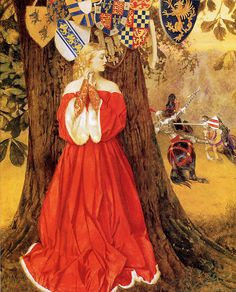 """Frank Cadogan Cowper (1877– 1958), """"Lancelot slays the Caitiff Knight Sir Tarquin and rescues the fair lady and the knight in captivity"""""""