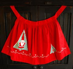Vintage red Christmas half apron hand by FunsizeCreations on Etsy, $16.95